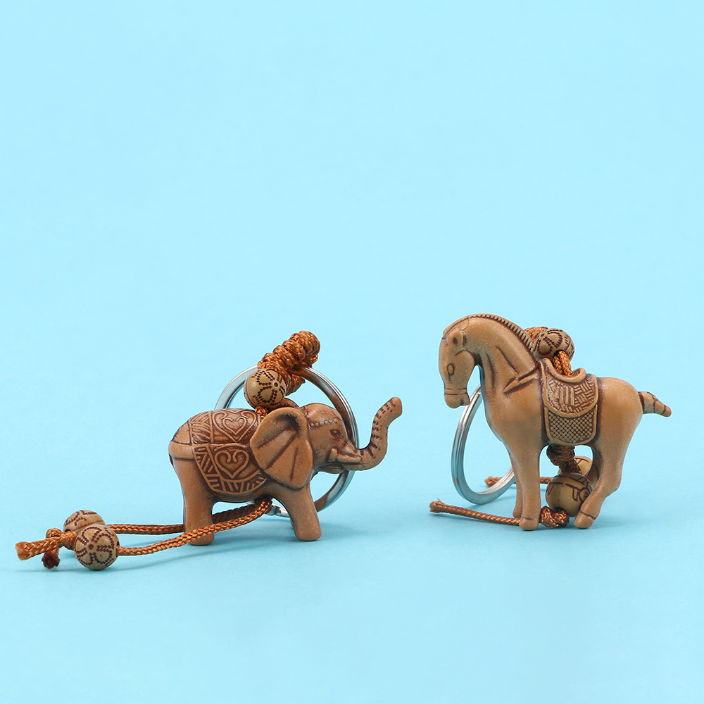 Elephant Horse Keychain Wooden Carving Lucky Keychain Exquisite Animal Key Ring Women Men Jewelry Gift image