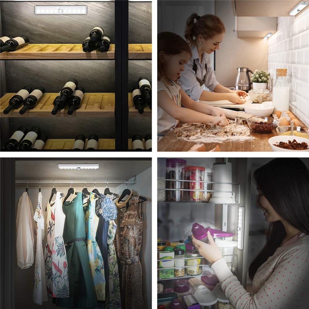 Купить с кэшбэком Wireless PIR LED Motion Sensor Under Cabinet Light Cupboard Wardrobe Bed Lamp LED Night Light For Closet Stairs Kitchen