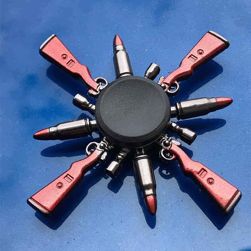 R118 Bearing Adult Spinner Gyro Sniper Tri Finger Spinner Metal Toys For Children Spinner Ring Smoke Bomb Pan Shape