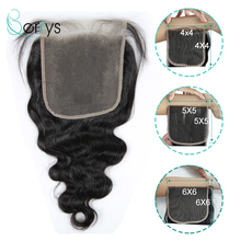 6x6 Lace Closure Virgin-Hair Body-Wave Human Indian Glueless Raw Transparent for Women