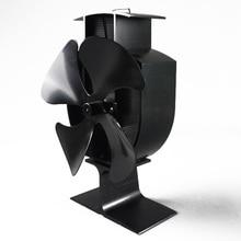 1х Черный экологически чистый 4 лопастной вентилятор для плиты с тепловым питанием бревенчатая горелка Топ мини-вентилятор