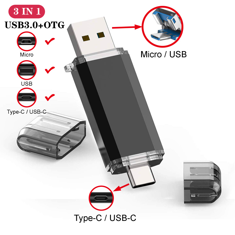 Colorful Micro Usb Type-C Pen Drive 16GB 32GB 8gb USB Flash Drive 64GB 128GB Pendrive Flash Memory For Typec Smartphone/laptop