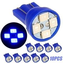 Car Light Source 10pcs T10 W5W 194 2825 4SMD LED Bulb Blue Auto Wedge Dashboard Gauge Cluster Lights pa led 10pcs x g14 t10 led light bulb 6 3v white color 4smd 3528 pinball machine led light