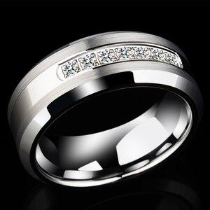 Image 4 - Newshe Anillo de boda de carburo de tungsteno para hombre, sortija, 8mm, tamaño 9 12, AAA, zirconio, Blanco redondo, joyería TRX050