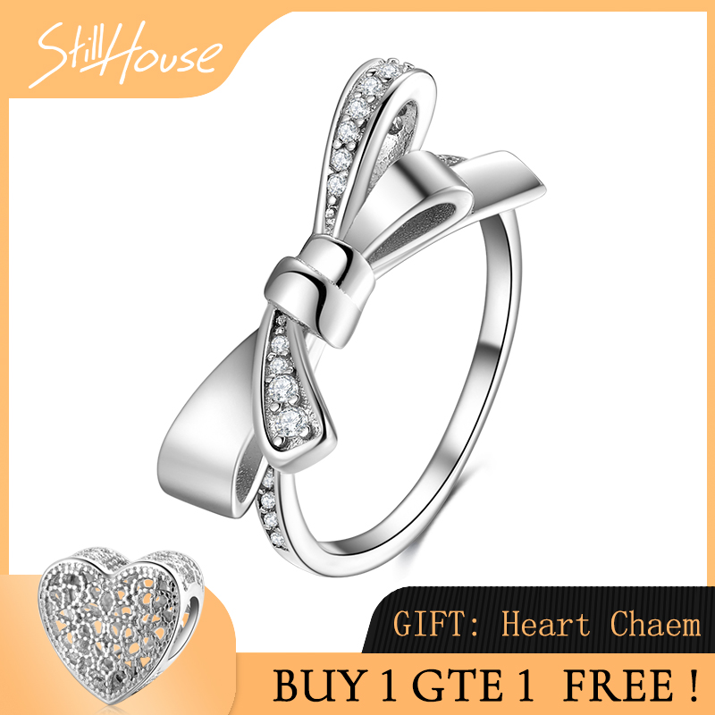 Real 925 Sterling Silver Dazzling Cubic Zircon Bow-knot Ring Finger For Women Wedding Engagement Rings Fashion 925 Jewelry