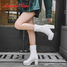 ANMAIRON Super High Square Heel Mid-Calf Motorcycle Boots Lace-Up PU Round Toe Winter Solid Short Plush Women White