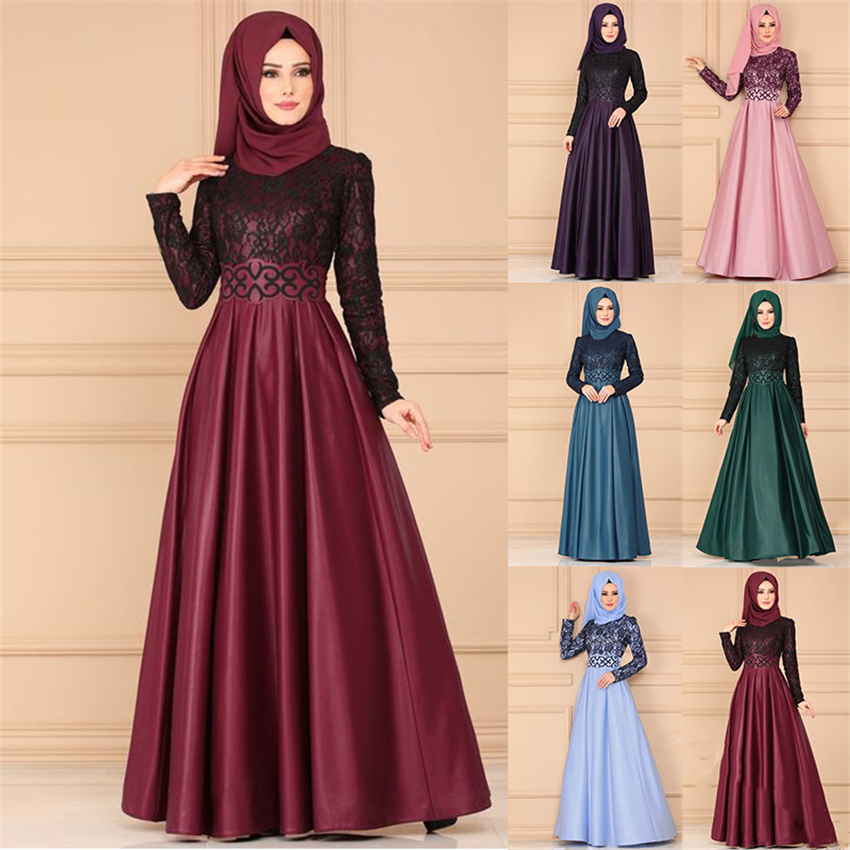 Muslim Abaya Dress Woman Vintage Islamic Clothing Elegant Lace Pleated Kaftan Dubai Turkish Long Sleeve Party Evening Dresses