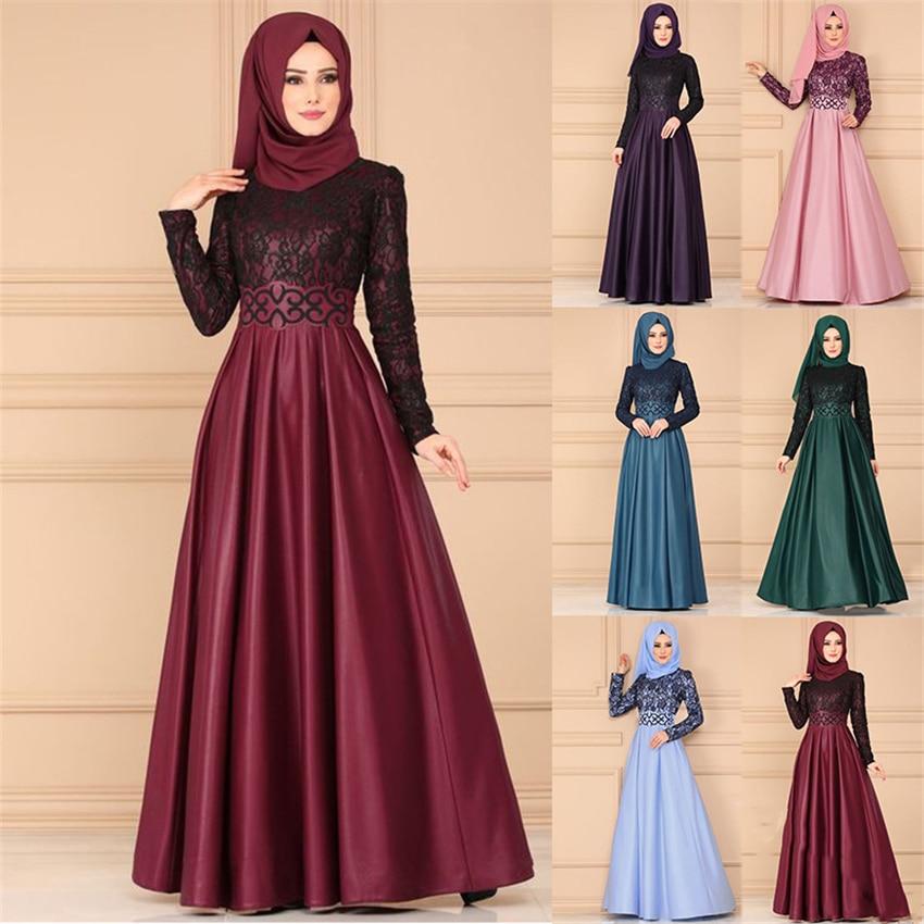Muslim Abaya Dress Woman Vintage Islamic Clothing Elegant Lace Pleated Kaftan Dubai Turkish Long Sleeve Party Evening Dresses
