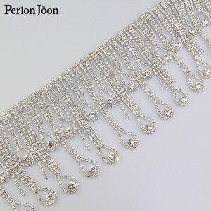 Image 4 - Gouttelettes en cristal à pampilles longues 1 yard et garniture de frange en strass argenté décoratif avec chaîne de strass, accessoires pour vêtements ML075