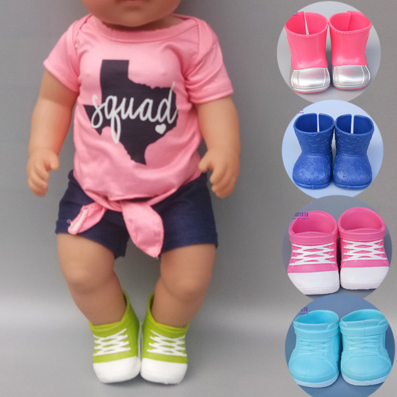 43cm New Born Baby Doll Shoes Boots Black Green Blue Pink Toys Shoes Sneaker Baby Bona Doll Accessories