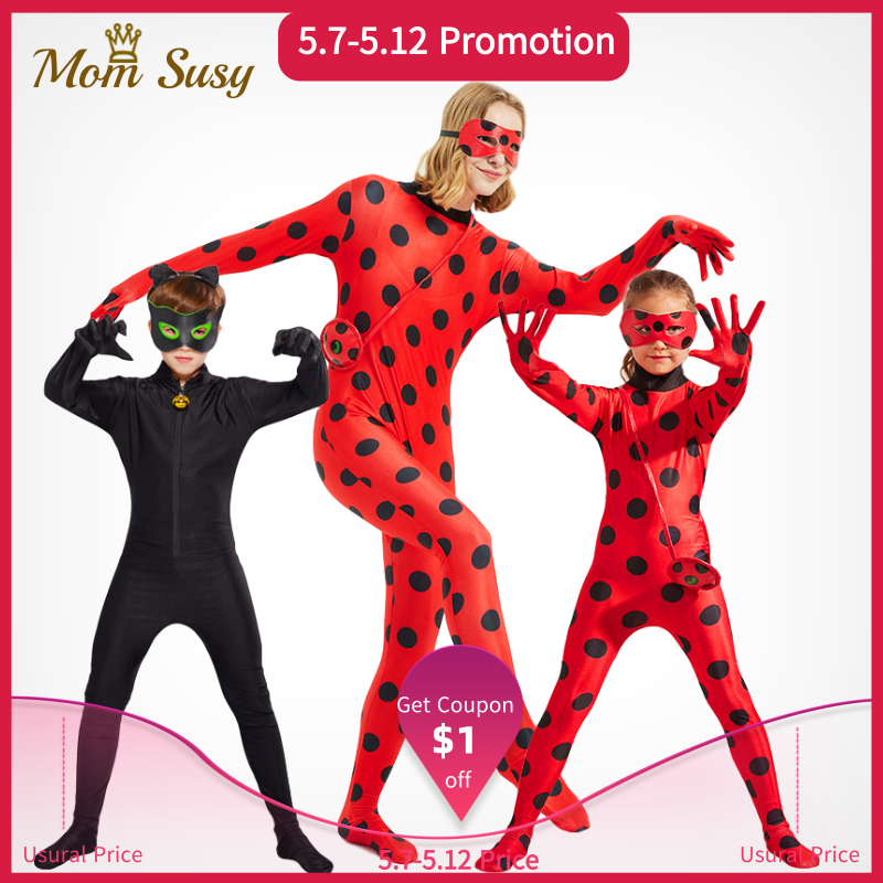 Lady Bug And Cat Noir Costume Clothes Set Kids Adult Mother Daughter Ladybug Cosplay Suit Halloween Party Jumpsuit
