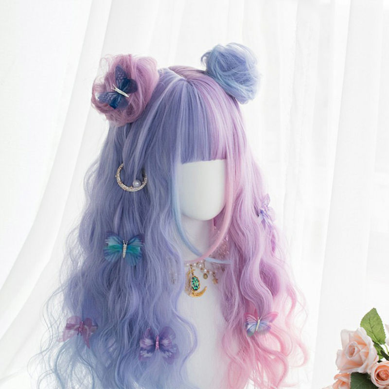 Harajuku Soft Girl Lolita Wig Bunny Bonnie Candy Color Lolita Long Curly Hair Student Sweet Cute Dreamy Cocktail Girl Women Wig