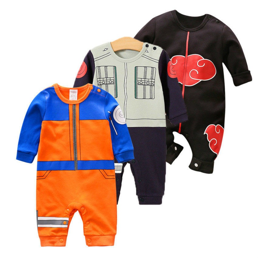 2019 New Baby   Rompers   100% Cotton Newborn Baby Jumpsuits Cartoon Naruto Japanese Anime Long Sleeve Baby Boys Girls Clothes