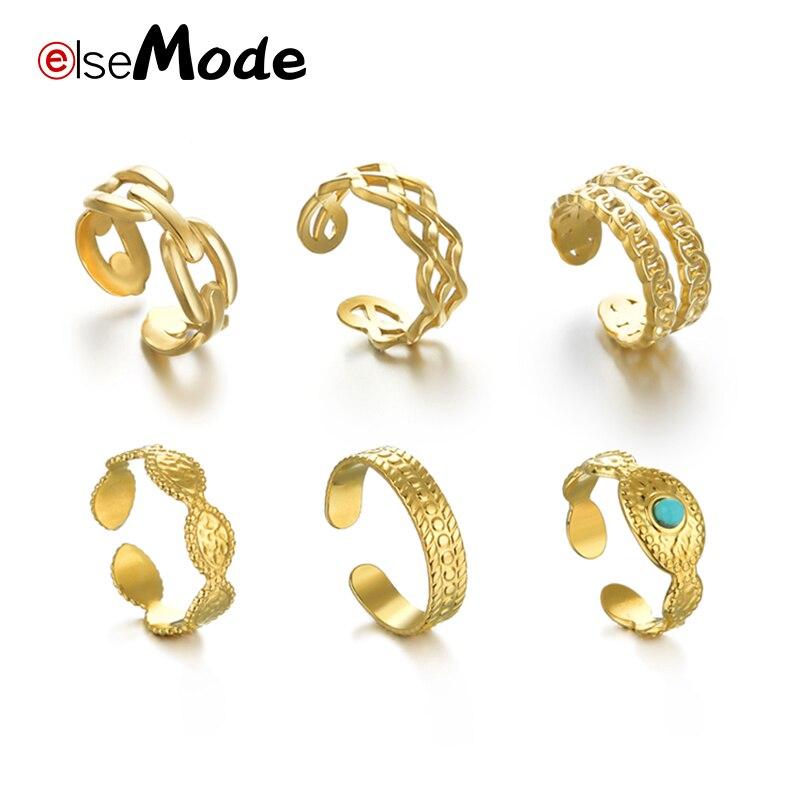 ELSEMODE богемное многослойное женское кольцо, модное золотистое регулируемое кольцо из нержавеющей стали с геометрическим рисунком, модные ю...