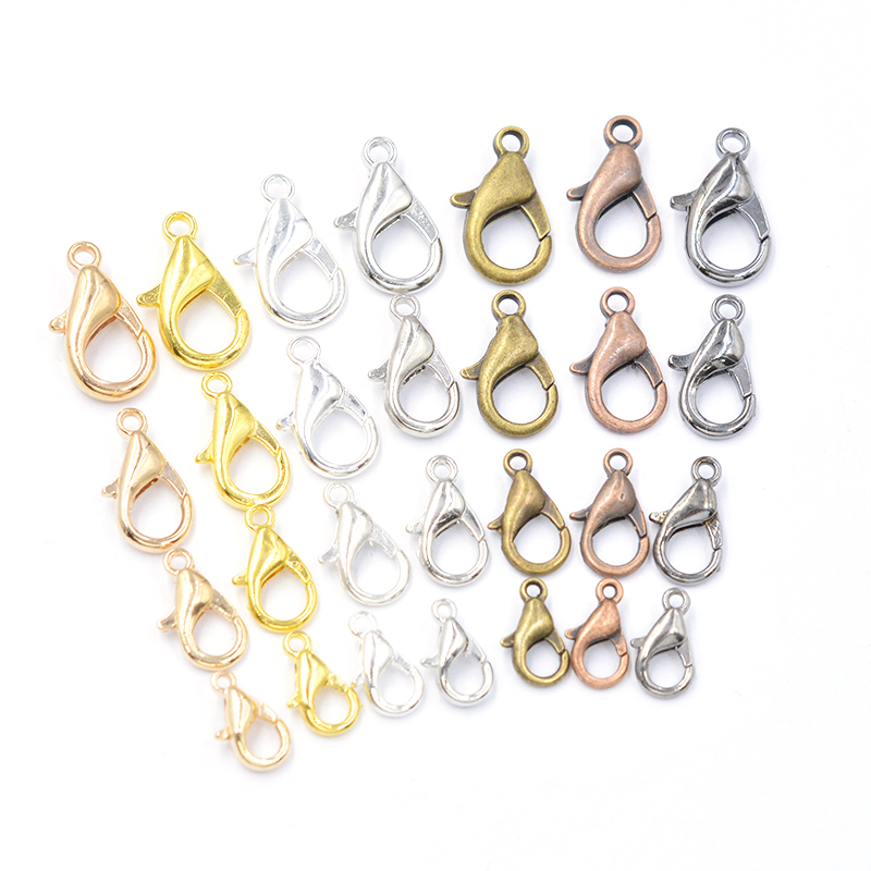 50pcs Mixed 7 Color 10/12/14/16mm Metal Lobster Clasp Hooks End Connectors For Jewelry Making Findings Necklace Bracelet DIY