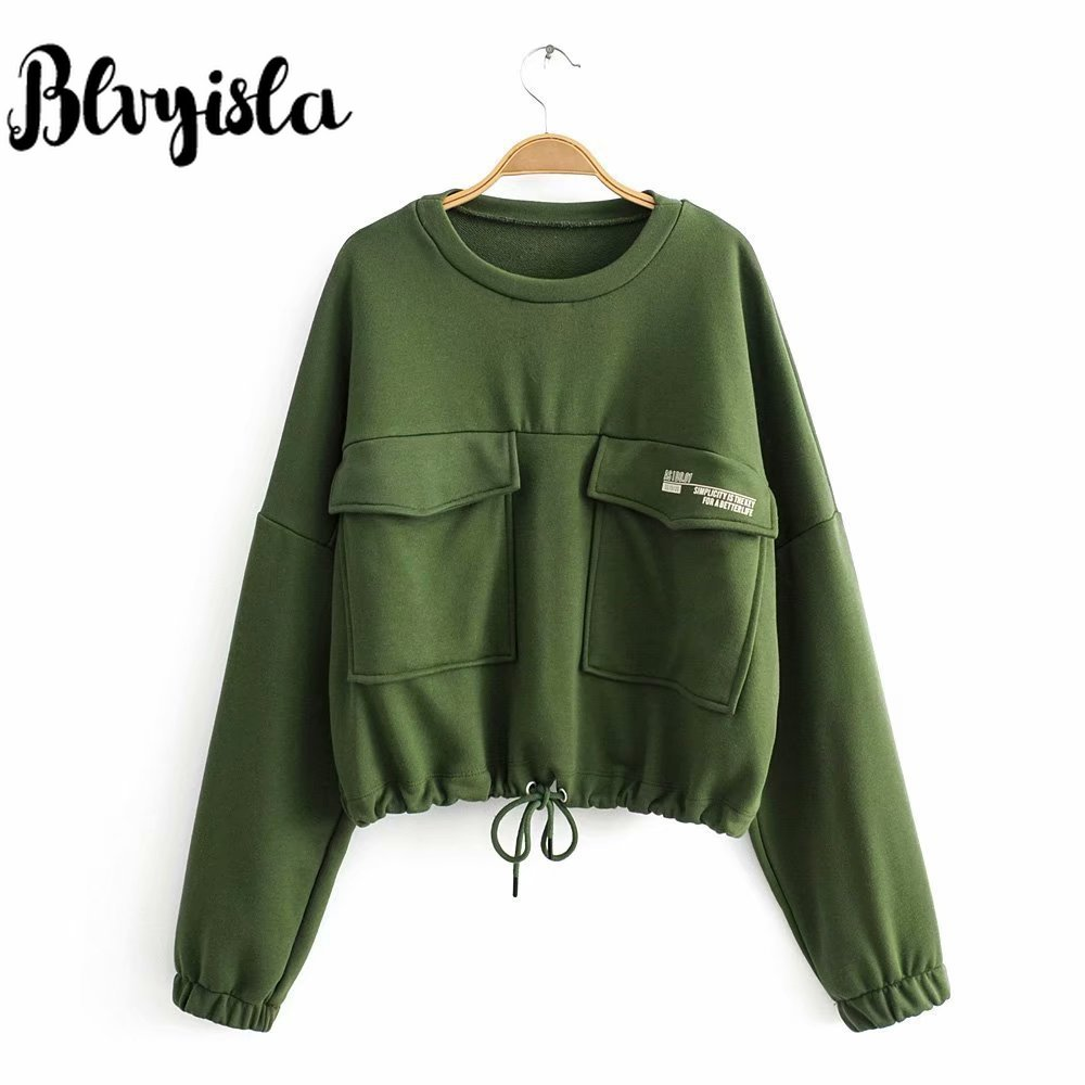 Blvyisla Solid Green Color Short Style Big Pocket Sweatshirt Women Sport Slim Waist Long Sleeve Cotton Crop Tops Bomber Hoodies
