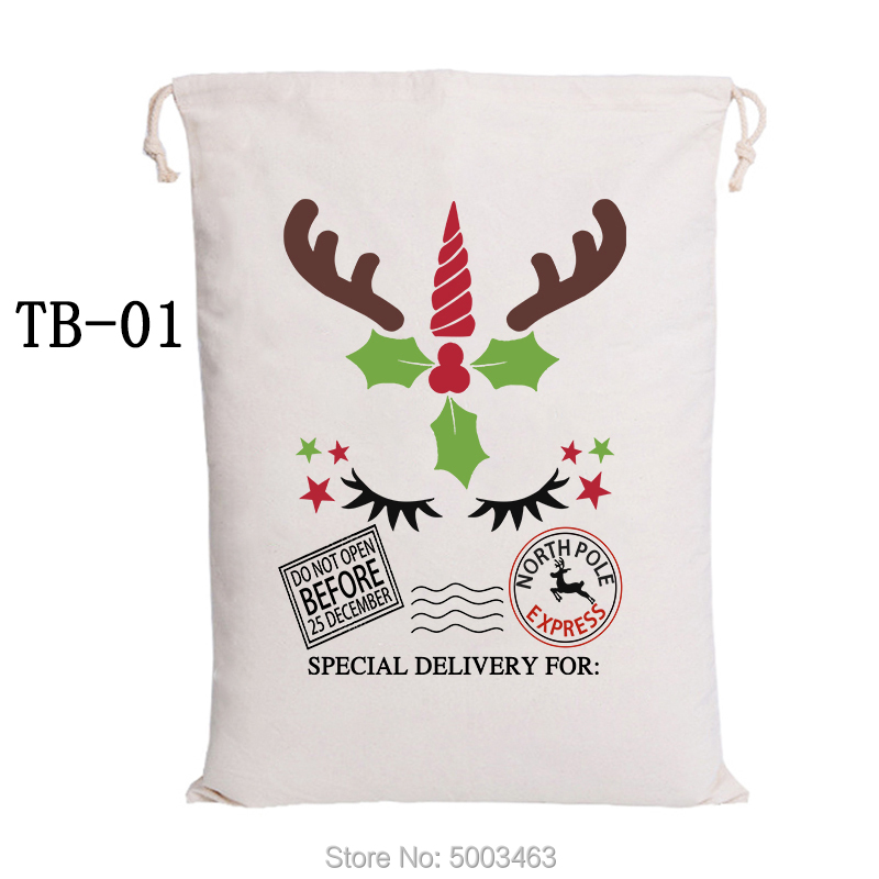 Christmas Kids Bag 50pcs Reindeer Express Santa Sacks Canvas Drawstring Bag Christmas Gift Bags Party Decoration Santa Claus