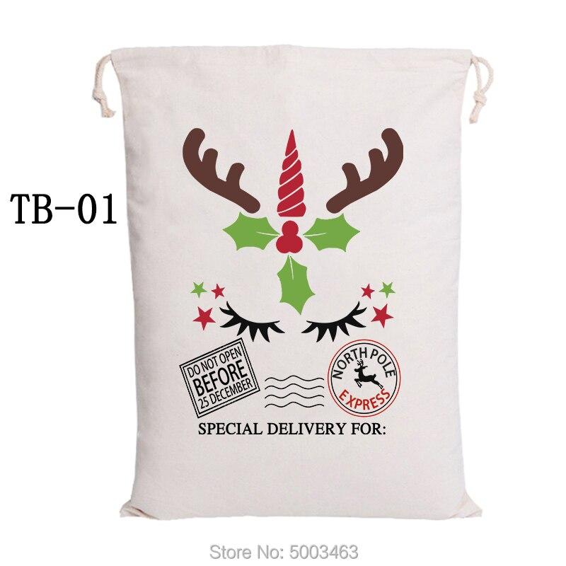 Reindeer Express Santa Sacks Christmas Gift Bag Drawstring Canvas Bag Santa Claus Party Decoration Christmas Kids Bags 30pcs