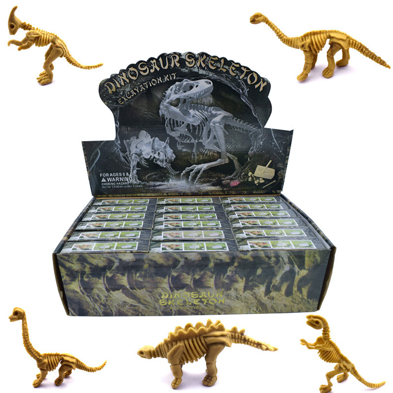 1set/6pcs Archeological Fossil Puzzle Science Education Toy Dinosaur Fossil Intelligence Toy Dinosaur Excavation Playset