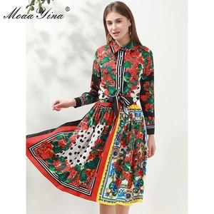Image 3 - MoaaYina Fashion Designer Set Spring Women Long sleeve Floral Print Shirt Tops+Skirt Elegant Holiday Two piece set