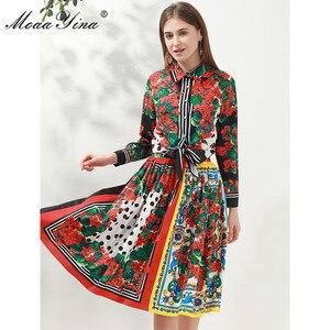 Image 3 - Модный дизайнерский комплект moaayina, Весенняя женская рубашка с длинным рукавом и цветочным принтом, Топы + юбка, элегантный праздничный комплект из двух предметов