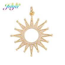 Juya DIY  Micro Pave Zircon Luxury Gold Sun Star Pendant Charms For Handmade Fashion Women Needlework Jewelry Making Accessories