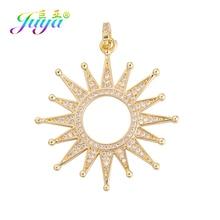 Juya DIY  Micro Pave Zircon Luxury Gold Sun Star Pendant Charms For Handmade Fashion Women Needlework Jewelry Making Accessories