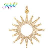 Juya-Colgante de estrella del sol para mujer, Micro pavé de circón dorado de lujo, dijes para mujer hechos a mano, accesorios de joyería de costura