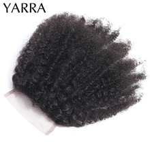 Brazilian Afro Kinky Curly Closure Only Pre Plucked 100% Human Hair Weave 4x4 Lace Closure with Baby Hair Remy Yarra Hair