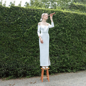 Image 4 - tailor shop custom made light wedding dress pure silk wool fabric off shoulder simple silk wedding dress white silk wedding gown