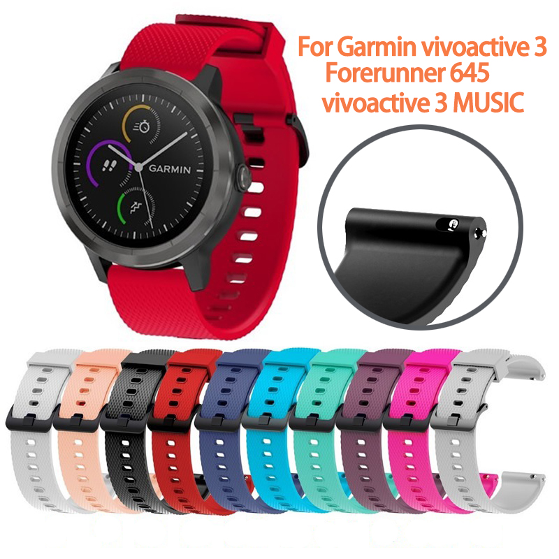 20mm Silicone Band  For Garmin Vivoactive 3 Forerunner 645 Wrist Strap Replacement Watchband  For Garmin Vivoactive3 Wristband