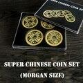 Супер китайский набор монет (Qianlong, Morgan Size), Волшебная монета для фокусов, исчезающая магния, крупным планом иллюзии, трюк, реквизит, ментализм