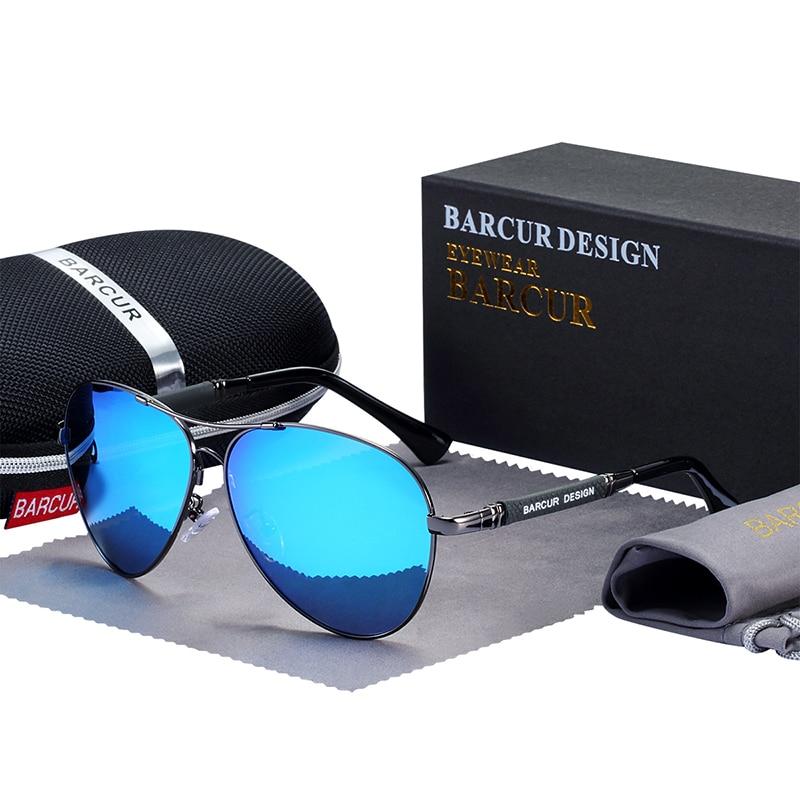 BARCUR Design Titanium Alloy Sunglasses Polarized Men's Sun Glasses Women Pilot Gradient Eyewear Mirror Shades Oculos De Sol 9
