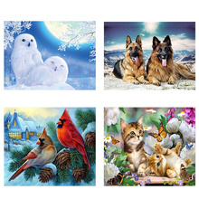 DIY 5D Wolf Diamond Painting White Owl Cross Stitch Animal Bird Diamond Embroidery Full Round Drill Wall Art Home Decor Gift diy 5d diamond painting full round drill rhinestone cartoon diamond embroidery wolf female cross stitch wall art gift home decor