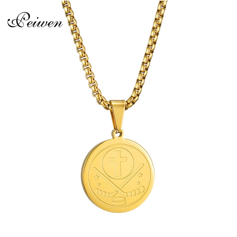 Round Puck Pendant Necklace For Women Men Stainless Steel Cross Necklaces Charm Gold Box Chain Choker For Ice Hockey Enthusiast in Pendant Necklaces from Jewelry Accessories