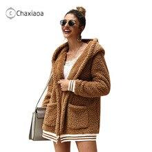 Women Clothing Jackets Blends-Coats Woolen Winter Fashion Warm Casual CHAXIAOA Loose