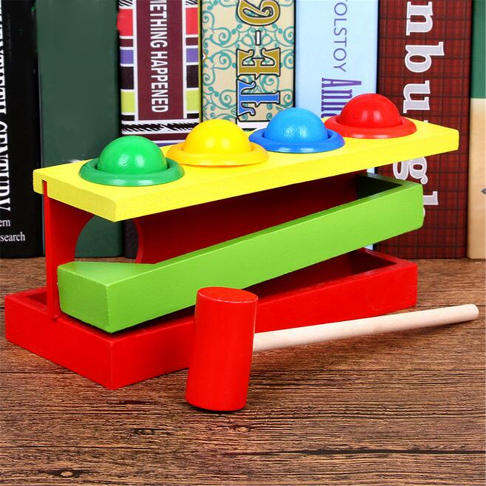 Wooden Matching Color Montessori Piling Hand Hammering Ball Box Toy Parent-child Interactive Toys Learning Educational Baby Toys