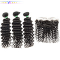 VR Star Quality Peruvian Deep wave Virgin Human Hair Bundles With 13x4 frontal Ear to Ear with Natural Baby Hair