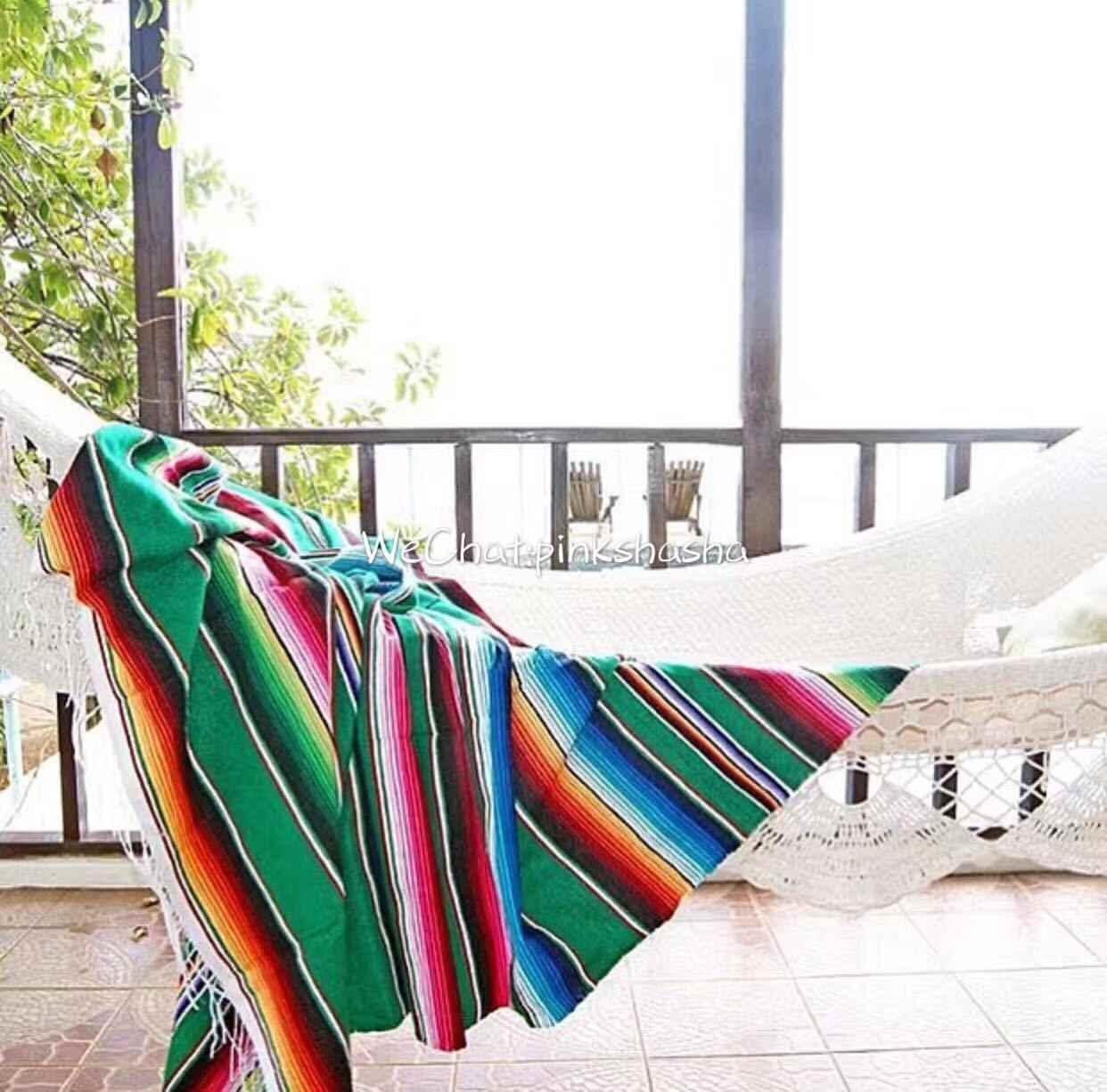 Tapisserie suspendue de Style mexicain | Couverture rayée en Ranbow, tapisserie de canapé Cobertor en coton pur, pour canapé-lit voyage en avion avec pompon
