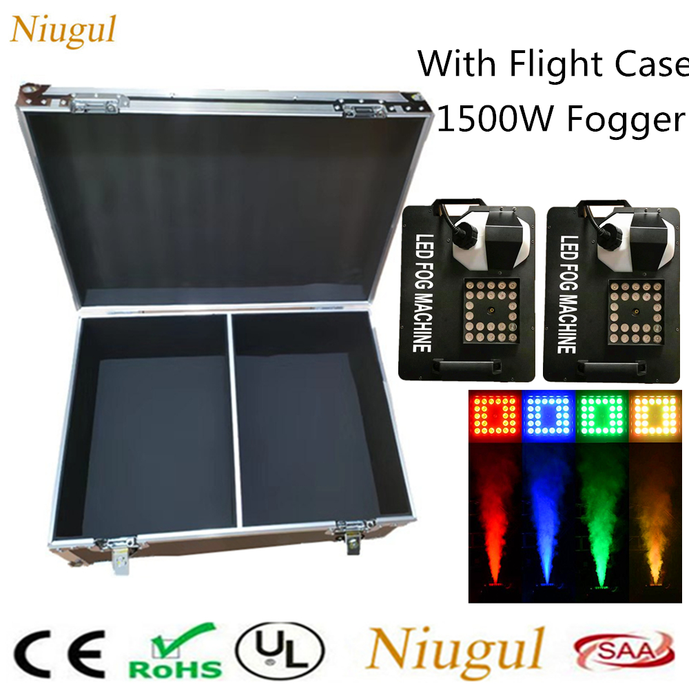 2pcs/lot 1500W LED Fog Machine 24x9W RGB LED Lights DMX Vertical LED Smoke Machine <font><b>Stage</b></font> Fogger <font><b>Hazer</b></font> Equipment With Flight Case image