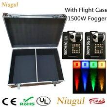 Máquina de humo LED Vertical DMX, 2 unidades/lote, 1500W, 24x9W, luces LED RGB, equipo nebulizador de escenario con estuche de vuelo