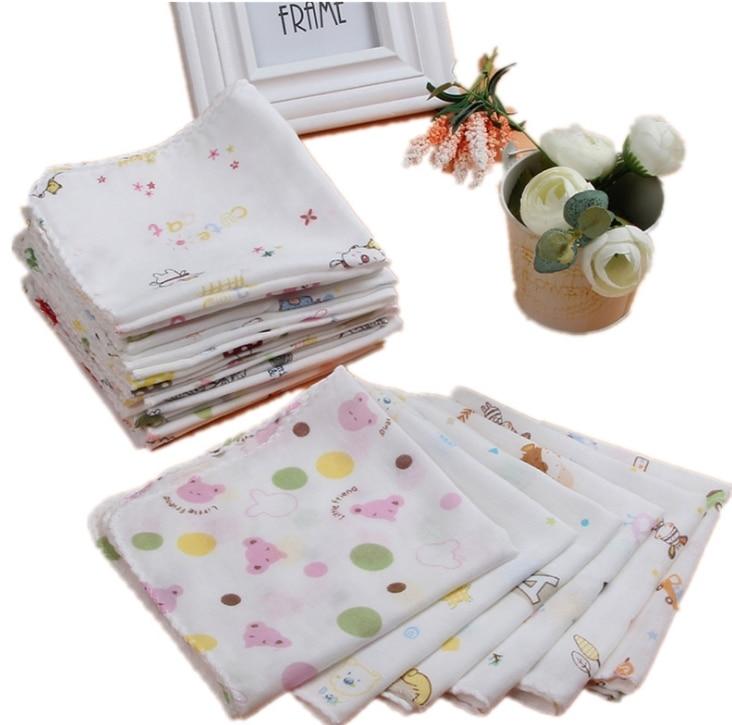 10pcs Baby Feeding Towel Cartoon Animal Chart Printed Children Handkerchief Gauze Muslin Nursing Baby Absorbing Soft Washcloth