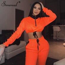 Simenual Casual Fashion Women Sweatshirts Long Sleeve 2019 Autumn Crop Top Patchwork Drawstring Zipper Workout Sporty Hoodies