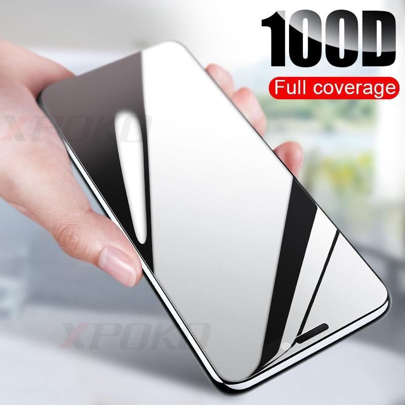 Cristal Protector de borde curvado 100D para iPhone 7 8 6 6s Plus Protector de pantalla templado para iPhone 11 Pro X XR XS Max de vidrio