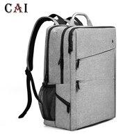 CAI Fashion Style Waterproof High Quality Backpack Men Business 14 15 inch Laptop Softback Male Style School Bag Male bookbag