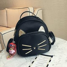 Velvet girls backpack fashion casual travel backpack cute cat cartoon animal small school bag(China)