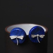 925 Sterling Silver Earrings Round Lapis Lazuli Dragonfly Stud For Women Popular Ethnic Style Lady Ear Jewelry