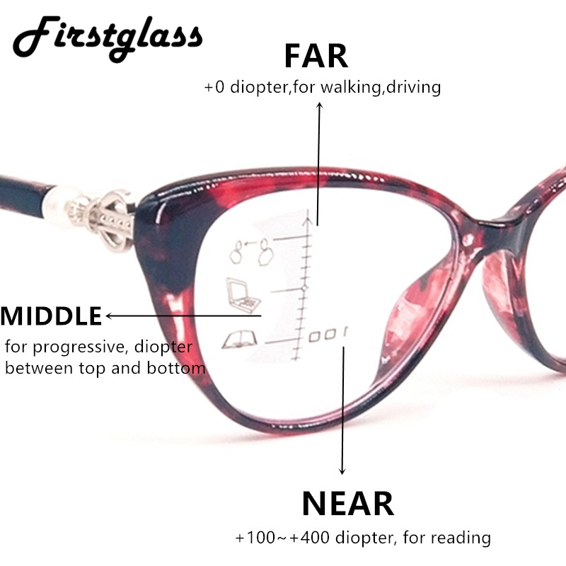 Women Cat Eye Glasses Women Retro Progressive Multifocal Reading Glasses Tr90 High Quality Near Far Sight Magnifying Presbyopia