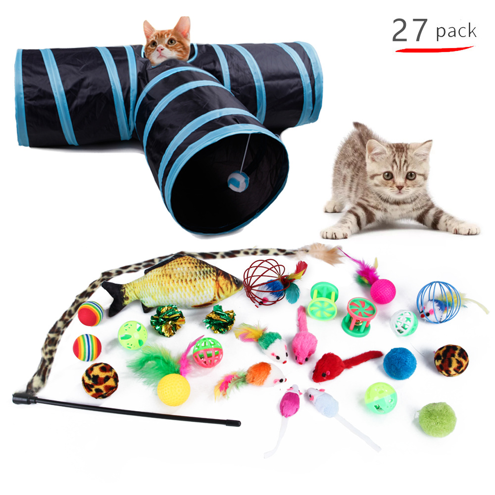 Hot Sale Pet Cat Toys Cat Tunnel Tube 27 sets Cats Three Passage Mice Variety Of Cat Teasing Sets Interactive Gifts Fish Toys image