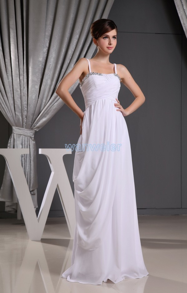 Free Shipping 2016 New Arrival Hot Seller Wlf060 Fashion Design Straps Custom Size/color White Crystal Chiffon Bridesmaid Dress